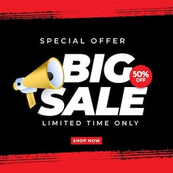Duży baner wyprzedaż szablon plakat promocyjny oferta specjalna do 50 zniżki