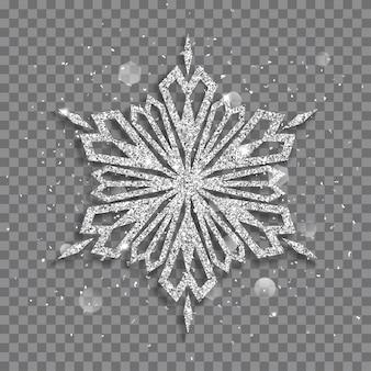 Duży błyszczący świąteczny płatek śniegu wykonany ze srebra mieni się iskierkami i odblaskami