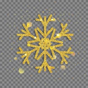 Duży błyszczący świąteczny płatek śniegu wykonany ze złotych brokatów z iskierkami i odblaskami