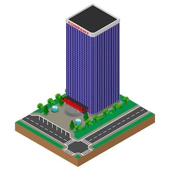 Duży budynek biurowy. drapacz chmur. izometryczny.