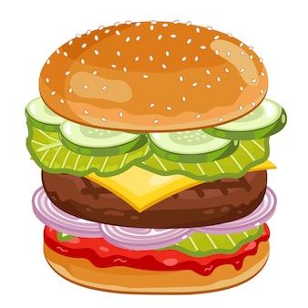 Duży burger na białym tle