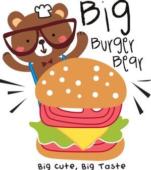 duży burger niedźwiedź wektor zbiory