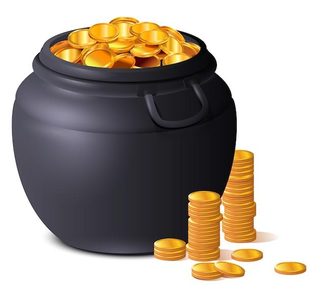 Duży czarny garnek pełen złotych monet. skarb szczęścia dzień świętego patryka