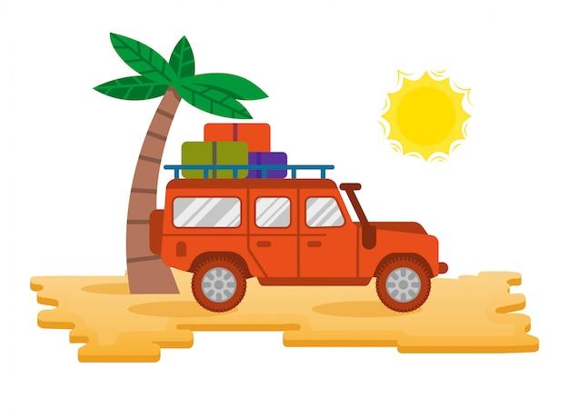 Duży dobry samochód wyścigowy suv pomarańczowy samochód safari do podróży, podróży, rodzinnej wycieczki na gorącą pustynię na plaży w letnie wakacje nad oceanem, biwak na świeżym powietrzu. nowoczesny styl ilustracji ikona płaska konstrukcja.