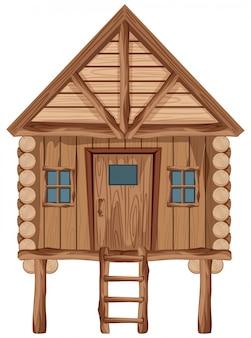 Duży drewniany domek z drzwiami i oknami