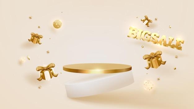 Duży dzień sprzedaży tło, podium z pudełko i piłka luksus, złota wstążka. ilustracja wektorowa 3d.