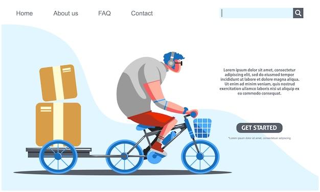 Duży facet jedzie na niebieskim rowerze przewożących pudła usługi dostawy.