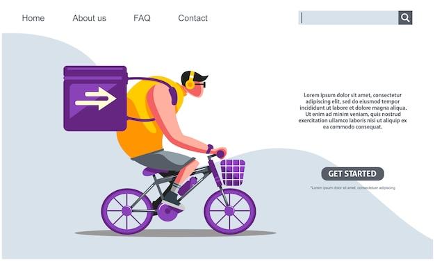 Duży facet jedzie na purpurowym rowerze przewożącym pudełka ekspresowa usługa dostawy.
