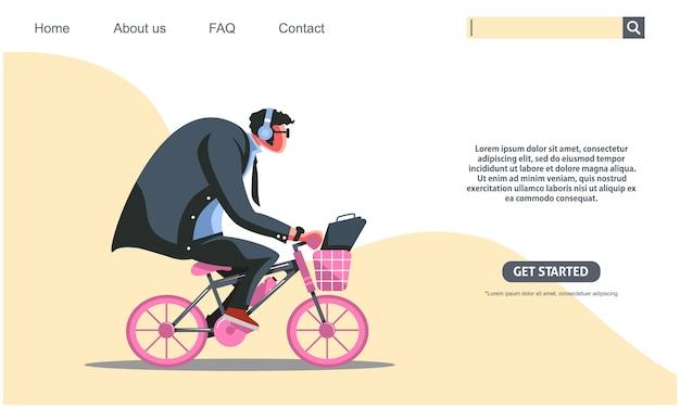 Duży facet jedzie różowego bicykl, biznesowego mężczyzna rower pracować pojęcie.