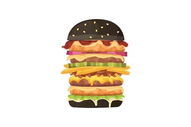 Duży ilustracja kreskówka fast food burger. czarny hamburger.