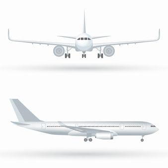 Duży komercyjny samolot odrzutowy. samolot z profilu, widok z przodu