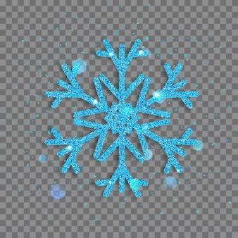 Duży lśniący płatek śniegu z jasnoniebieskiego błyszczy z iskierkami i odblaskami