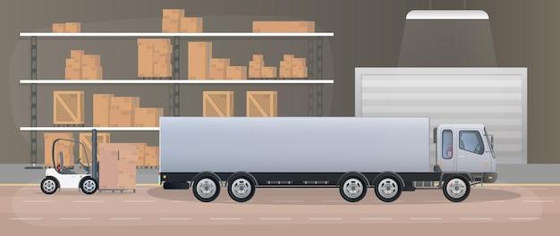 Duży magazyn z szufladami. stojak z szufladami i pudełkami. pudła kartonowe, ciężarówka, magazyn produkcyjny. wektor.