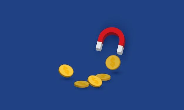Duży magnes i przyciąganie pieniędzy na niebieskim tle
