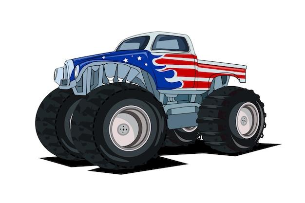 Duży monster truck, ogromny ciężki pojazd terenowy. na białym tle