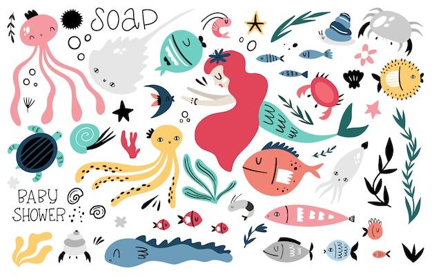 Duży morski wektor zestaw elementów graficznych do projektowania dla dzieci. doodle styl, wyciągnąć rękę. zwierzęta i rośliny morskie, syrenka, napisy.