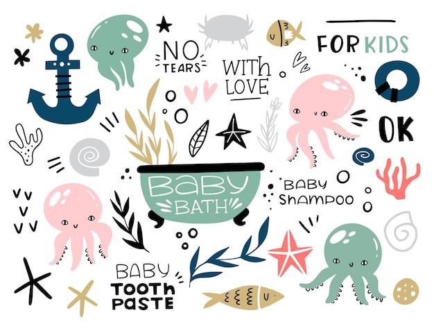 Duży morski zestaw zwierząt i roślin