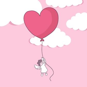 Duży na białym tle para zakochanych, szczęśliwa młoda dziewczyna wróżka w miłości