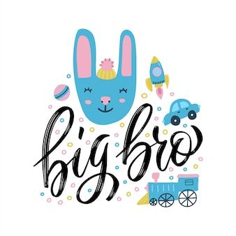 Duży napis bro z uroczym królikiem i napisem