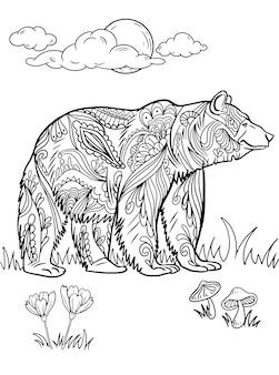 Duży niedźwiedź stojący widok z boku na polach traw z kwiatami pod rysowaniem linii w pełni księżyca