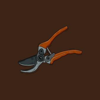 Duży nożycowy nożowy ilustracyjny narzędzie odizolowywający. nożyce do projektowania firmy ogrodniczej
