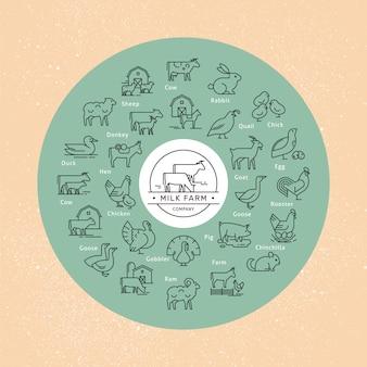 Duży okrągły wektor zestaw ikon zwierząt wiejskich w stylu liniowym
