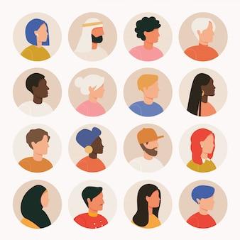 Duży pakiet różnych awatarów. zestaw portretów męskich i żeńskich. postacie awatarów mężczyzn i kobiet. różne narodowości. blond, brunet, afroamerykanin, europejczyk, muzułmanin.