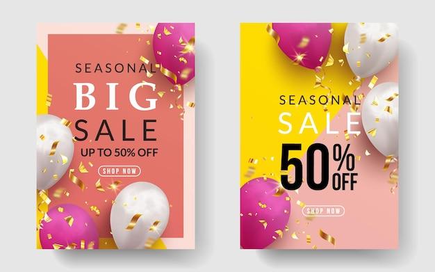 Duży pionowy baner sezonowej sprzedaży z realistycznymi balonami i konfetti
