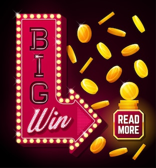 Duży plakat wygranej ze spadającymi złotymi monetami duży baner wygranej ze strzałką i przyciskiem