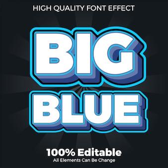 Duży pogrubiony niebieski styl czcionki edytowalny efekt czcionki