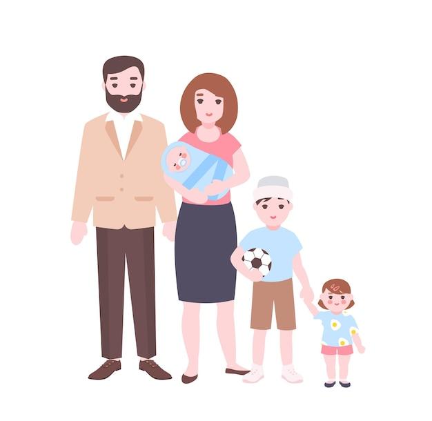 Duży portret rodzinny. matka trzyma noworodka, ojca i dzieci stojących razem. urocze postaci z kreskówek na białym tle. ilustracja wektorowa kolorowy w stylu płaski.
