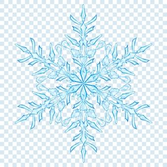 Duży przezroczysty płatek śniegu boże narodzenie w jasnoniebieskich kolorach na przezroczystym tle. przezroczystość tylko w formacie wektorowym