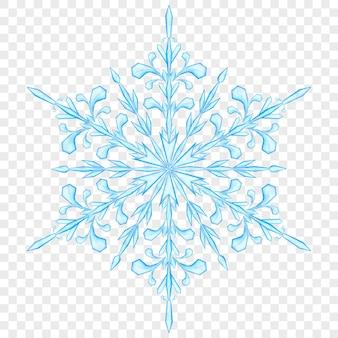 Duży przezroczysty płatek śniegu boże narodzenie w jasnoniebieskich kolorach na przezroczystym tle. przezroczystość tylko w pliku wektorowym