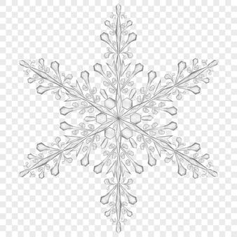 Duży przezroczysty płatek śniegu boże narodzenie w szarych kolorach na przezroczystym tle. przezroczystość tylko w pliku wektorowym