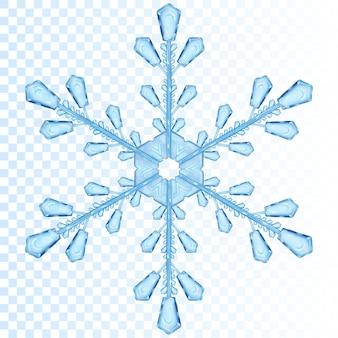 Duży przezroczysty płatek śniegu w kolorze niebieskim. przezroczystość tylko w pliku wektorowym
