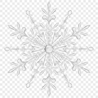 Duży przezroczysty płatek śniegu w szarych kolorach na przezroczystym tle. przezroczystość tylko w pliku wektorowym