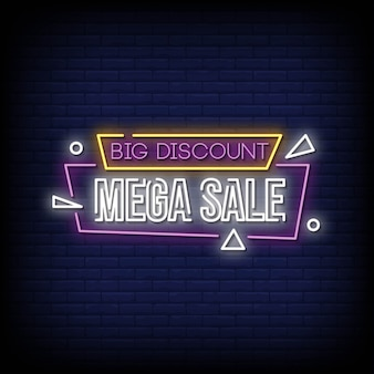 Duży rabat mega sprzedaż neony w stylu tekstu