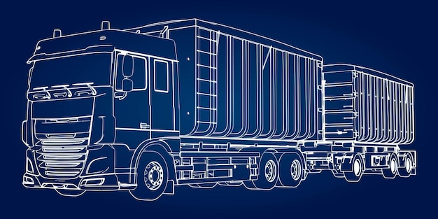 Duży samochód ciężarowy z osobną przyczepą, do przewozu materiałów i produktów sypkich rolniczych i budowlanych.
