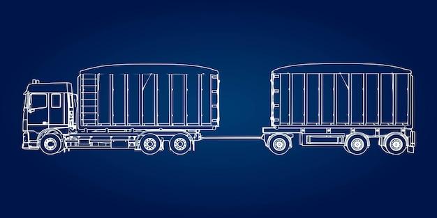 Duży samochód ciężarowy z osobną przyczepą do transportu materiałów i produktów sypkich rolniczych i budowlanych.
