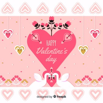 Duży serce z łabędź valentine tłem