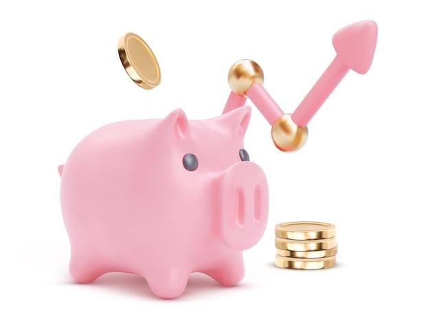 Duży skarbonka z 3d rosnącą strzałką na białym tle. oszczędności pieniędzy, ilustracja usług finansowych