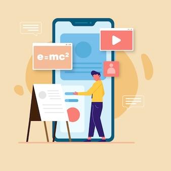 Duży smartfon pokazuje mężczyznę wykonującego samouczek e-learningowy