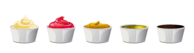 Duży sos w miseczkach. sosy sojowe, oliwa z oliwek, musztarda, ketchup i majonez. elementy przypraw do projektowania żywności.