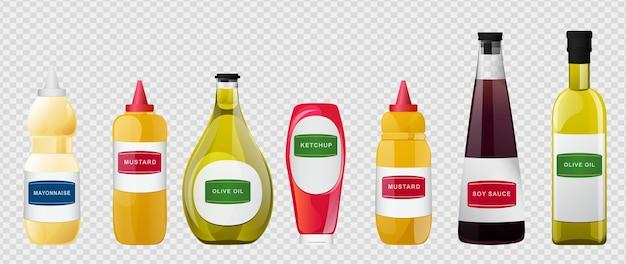 Duży sos w zestawie w butelkach. sosy sojowe, oliwa z oliwek, musztarda, ketchup i majonez. elementy przypraw do projektowania żywności.