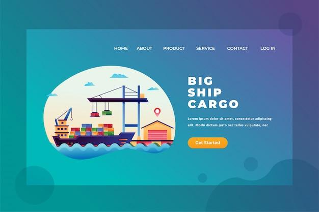 Duży statek ładunku dla międzynarodowej wysyłki dostawy i ładunek strony internetowej chodnikowa lądowania strony szablonu ilustracja