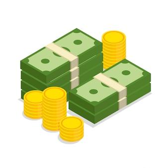 Duży stos gotówki i złote monety ułożone w modnym stylu izometrycznym. ilustracja na białym tle.