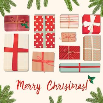 Duży stos kolorowych zapakowanych pudełek na prezenty wiele prezentów ilustracja wektorowa płaski na białym tle