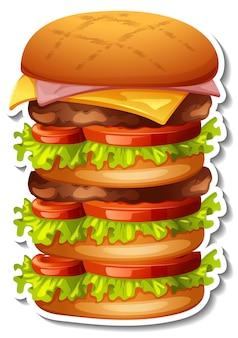 Duży stos naklejki z hamburgerem na białym tle