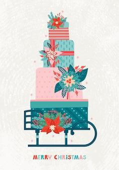 Duży stos prezentów na drewnianych saniach retro. wesołych świąt i szczęśliwego nowego roku rocznika kartkę z życzeniami. ozdobne pudełka świąteczne z zimowymi kwiatowymi elementami, ostrokrzew, poinsecja. wyciągnąć rękę