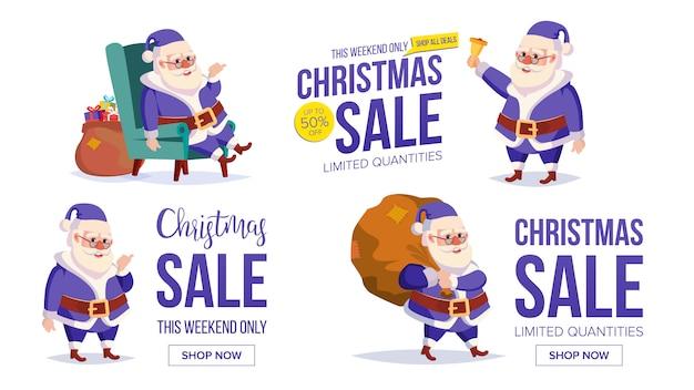 Duży świąteczny szablon transparent sprzedaż z happy santa claus.